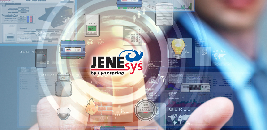 JENEsys Building Operating System graphic showcasing features